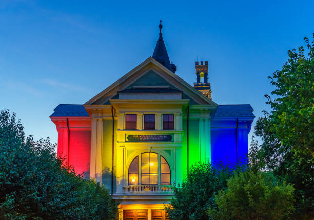 Town Hall of Provincetown Massachusetts August 2017 at the end of Cape Cod Provincetown has a large gay population of residents and tourists Town Hall of Provincetown Massachusetts USA August 2017 at the end of Cape Cod Provincetown has a large gay population of residents and tourists. provincetown stock pictures, royalty-free photos & images