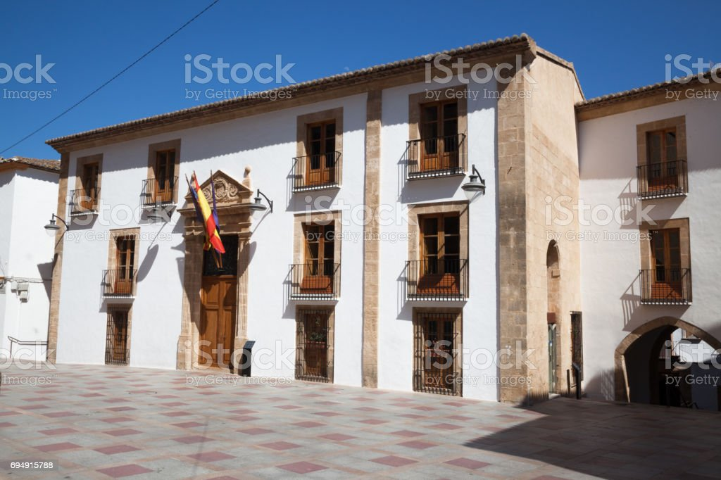 town hall of typically Spanish Javea old town on Costa Blanca Spain stock photo