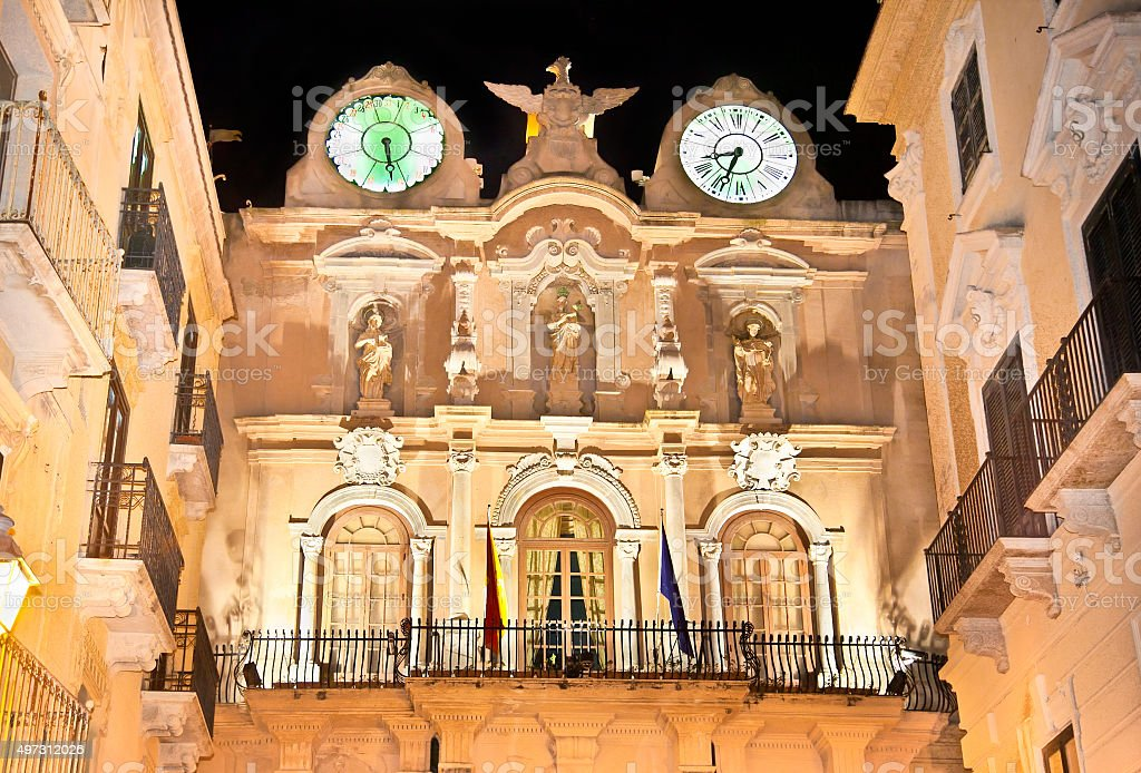 Town Hall on Palazzo Cavarretta in Trapani at night. Sicily stock photo