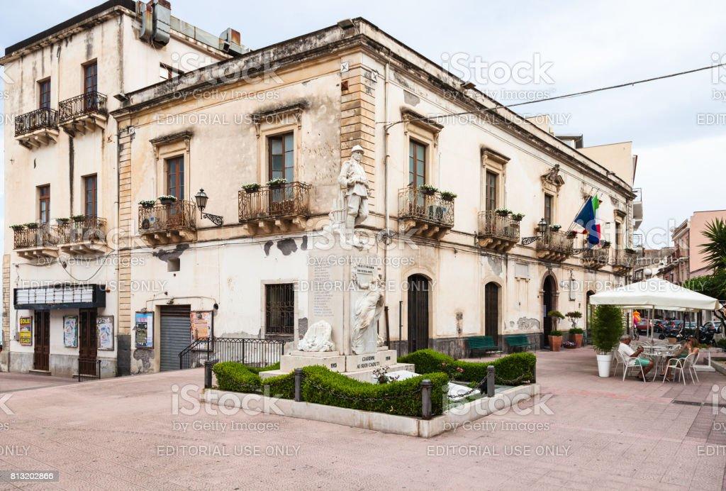Town Hall on Piazza Municipio in Giardini Naxos stock photo