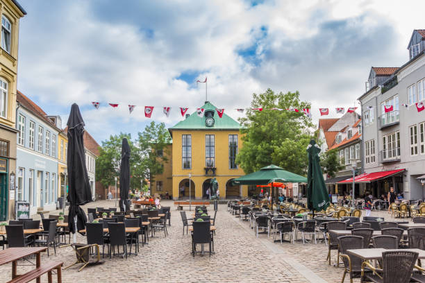 Town hall on the central square of Sonderborg Town hall on the central square of Sonderborg, Denmark sonderjylland stock pictures, royalty-free photos & images