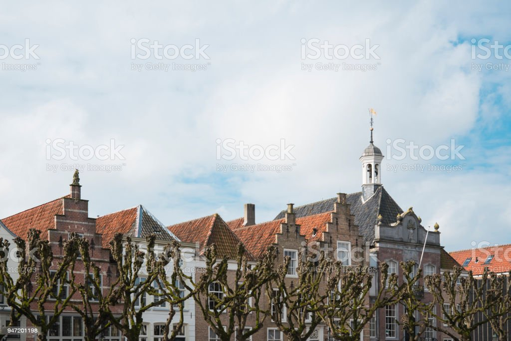 town hall on the market in fortified city Geertruidenberg, The Netherlands 2 stock photo