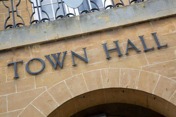 Town Hall Sign Town Hall Sign on Building Facade local government building stock pictures, royalty-free photos & images