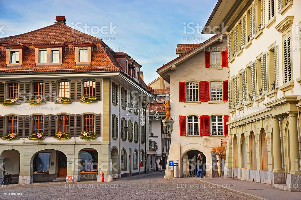Town Hall Square in Old City of Thun at Christmas stock photo