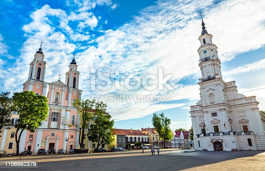 This pic shows the main town hall square of kaunas city. This is main centre point of Kaunis old  town.The pic is taken at day time in may 2019.