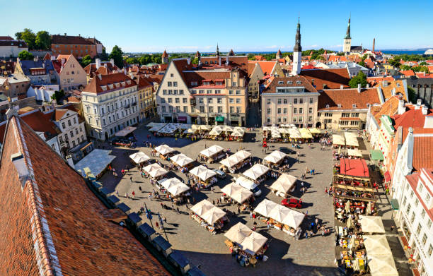 Town hall square in the old town of Tallinn, Estonia on July 26, 2017 stock photo
