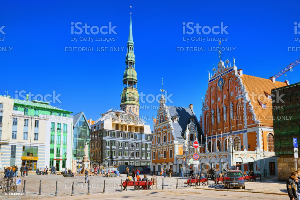 Town Hall Square (Latvian Ratslaukums) is one of the central squares of Riga, located in the Old Town. stock photo