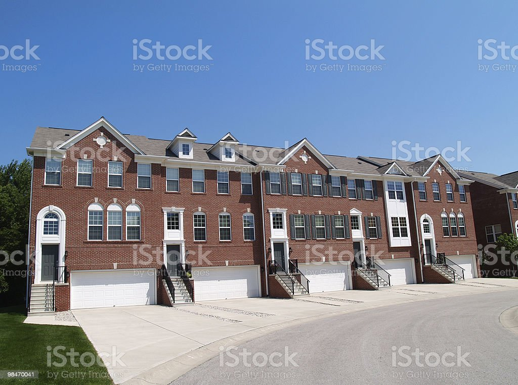 Town Homes With Garage in the Front royalty-free stock photo