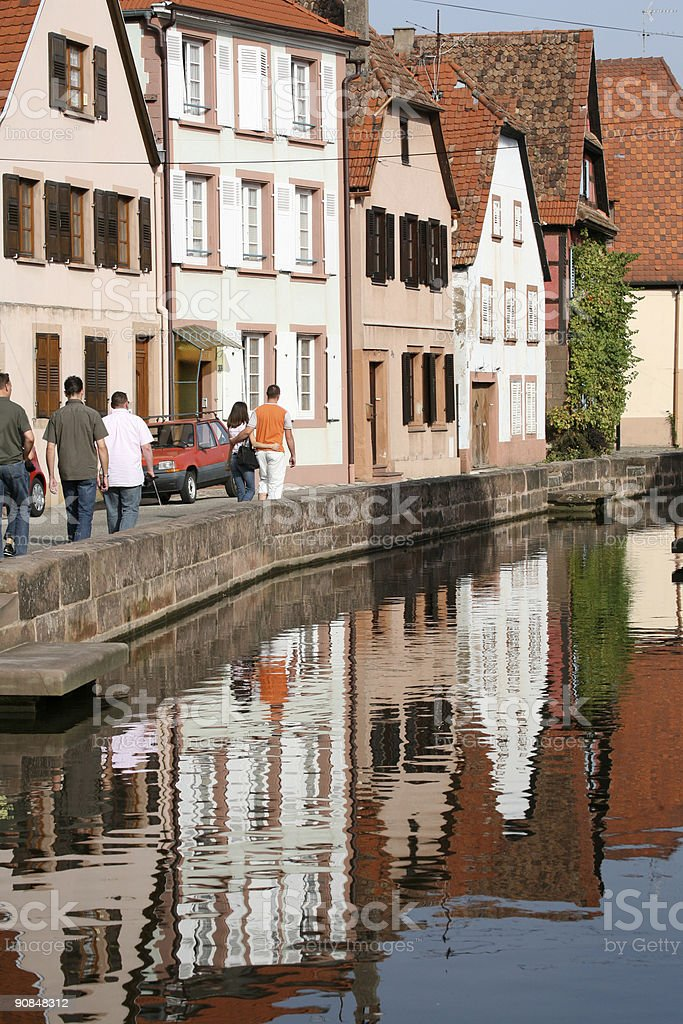 Town houses front & river royalty-free stock photo