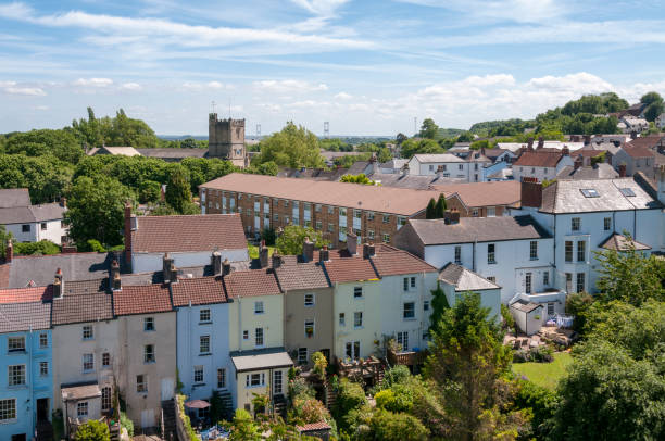 Town Houses In Chepstow, Wales, United Kingdom stock photo