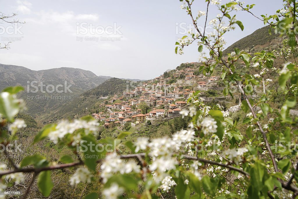 Town in the mountains of Peloponnese, Greece royalty-free stock photo