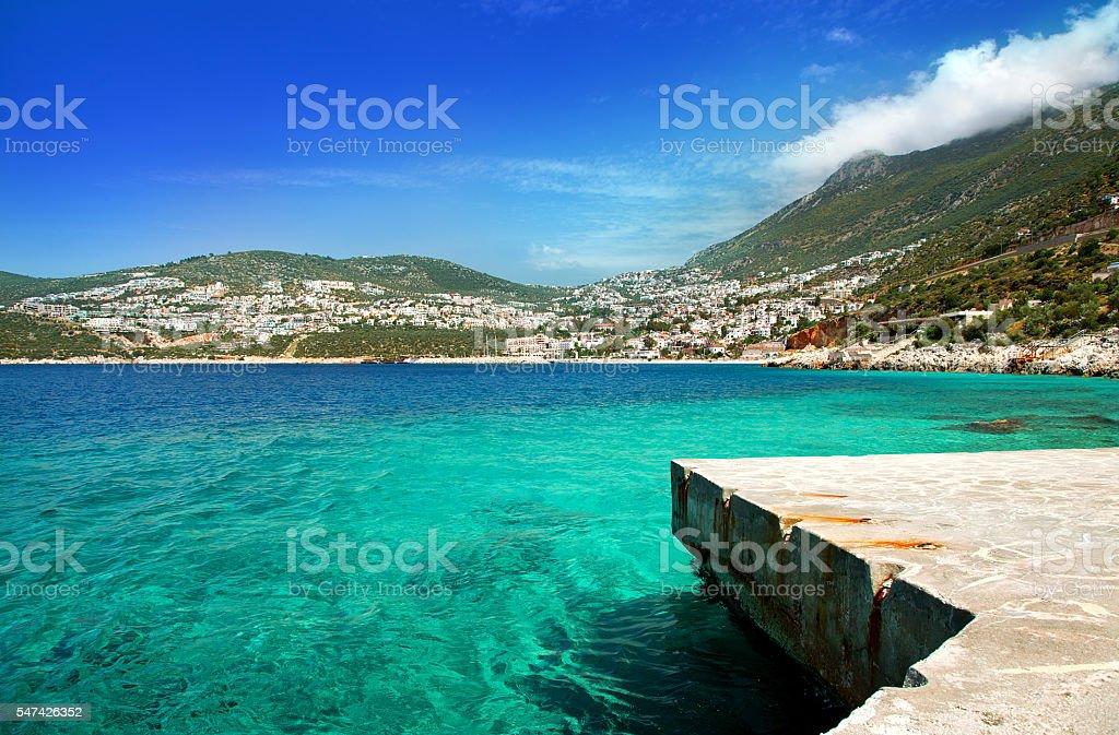 Town Kalkan, Mediterranean Coast, Antalya, Turkey stock photo