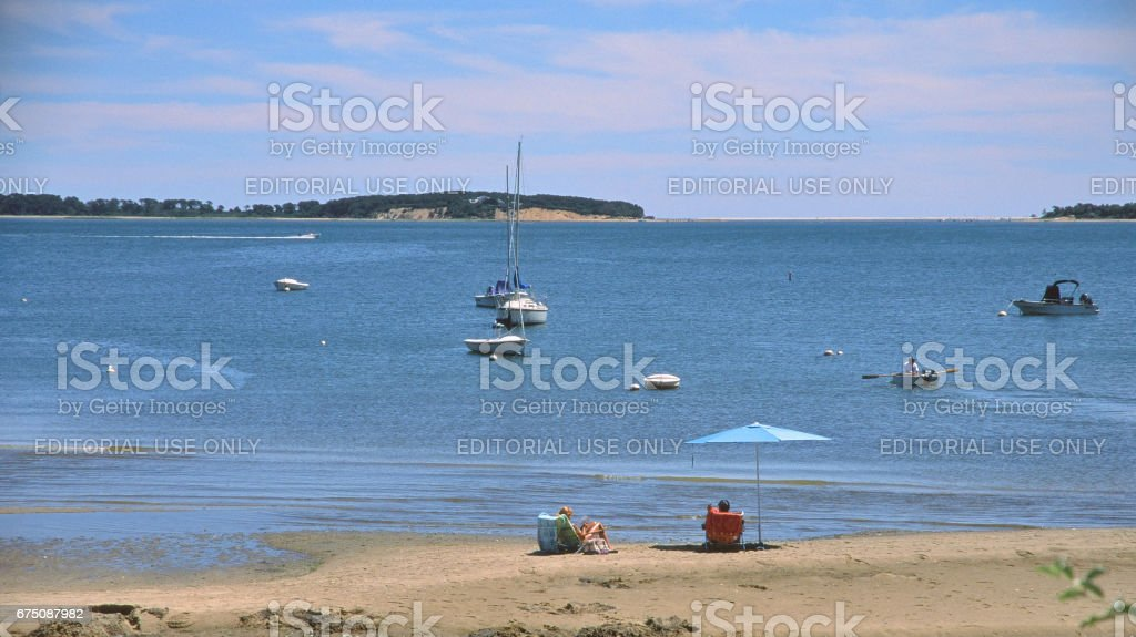 Town Landing Beach on Pleasant Bay, Orleans, MA. stock photo