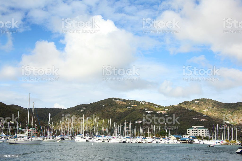 Town, marina & landscape, Roadtown, Tortola, British Virgin Islands, Caribbean. stock photo