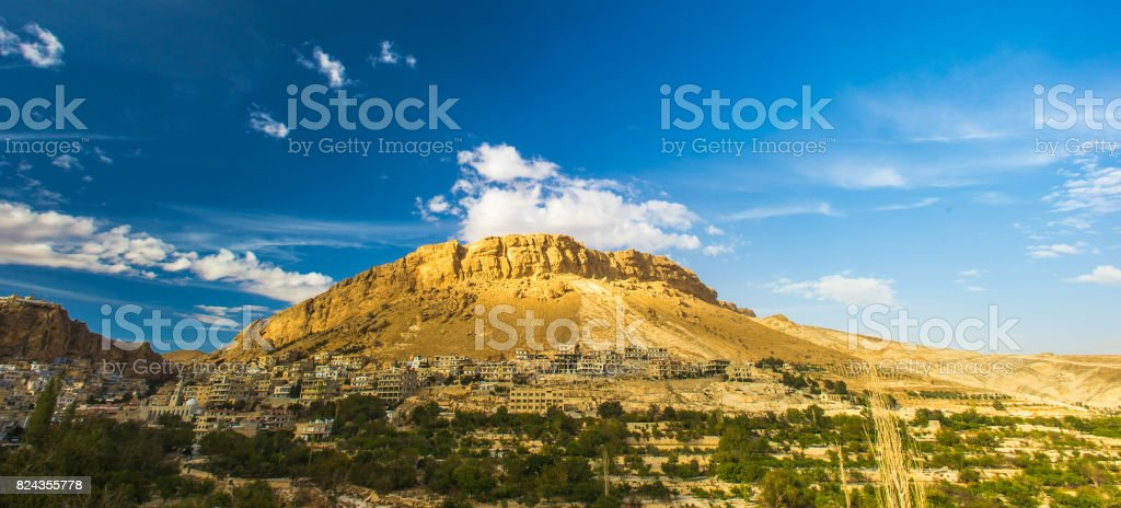 Town near the rock in Syria stock photo