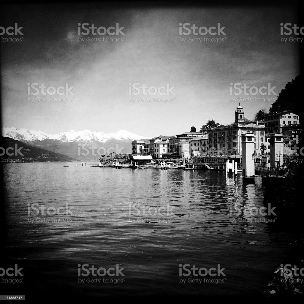 Town of Bellagio on Como Lake, Black and White, Italy royalty-free stock photo