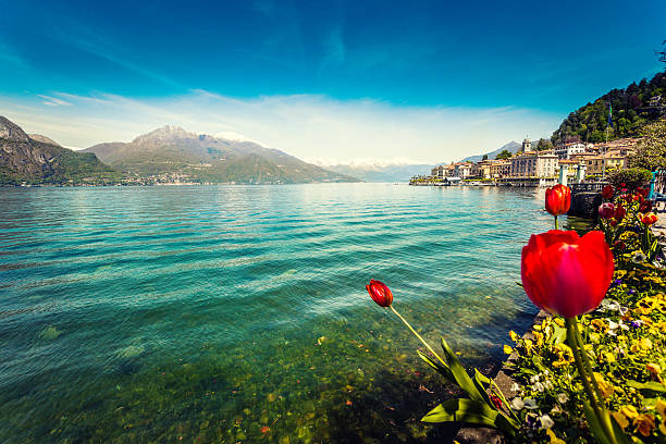 town of bellagio on como lake in spring, italy - lake como stock photos and pictures
