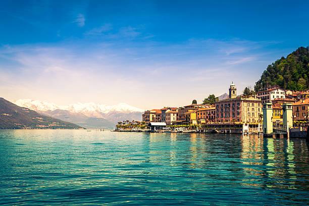 town of bellagio on como lake, national landmark, italy - lake como stock photos and pictures
