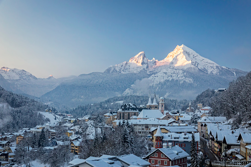 Town of Berchtesgaden with Watzmann in winter at sunrise, Bavaria, Germany