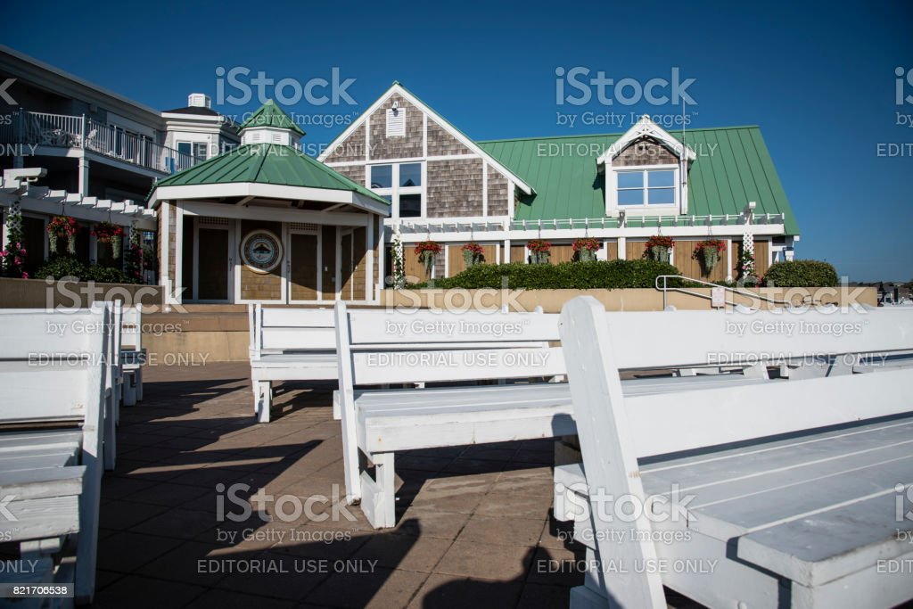 Town of Bethany Beach Bandstand and Building stock photo
