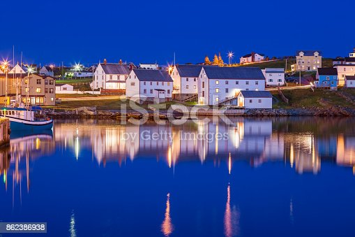 Stock photograph of the historic town of Bonavista in Newfoundland, Canada at twilight blue hour.