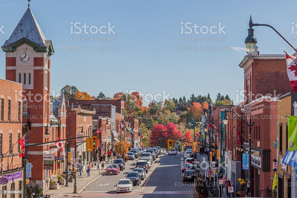 Town of Bracebridge in autumn stock photo