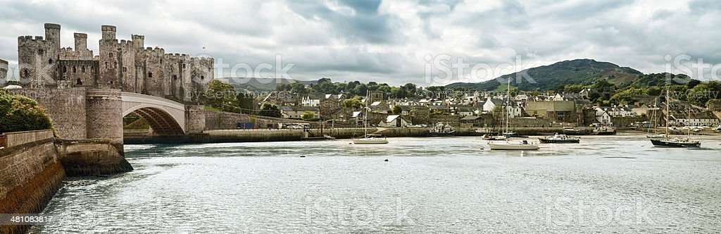 Town of Conwy panorama, Wales, UK stock photo