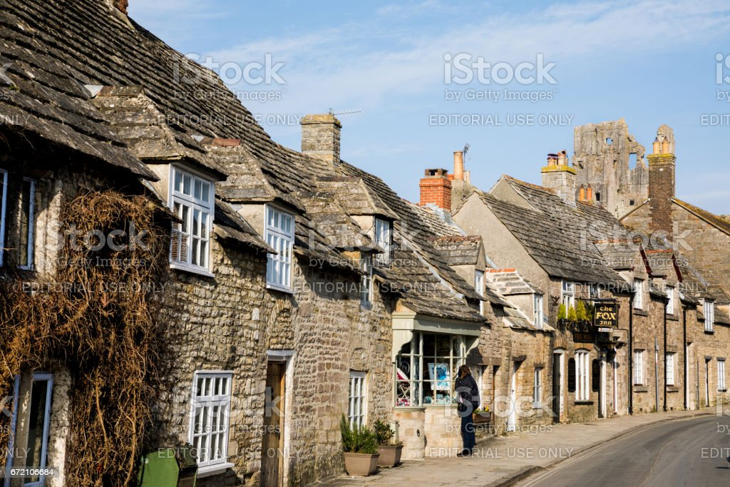 Town of Corfe Castle stock photo