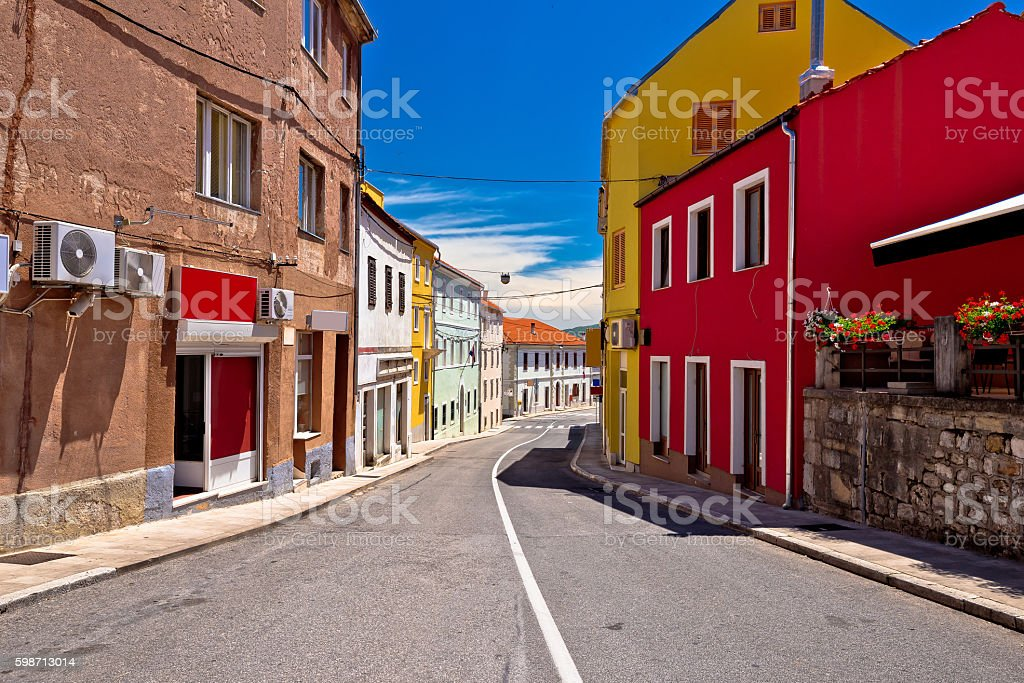 Town of Drnis colorful street view stock photo