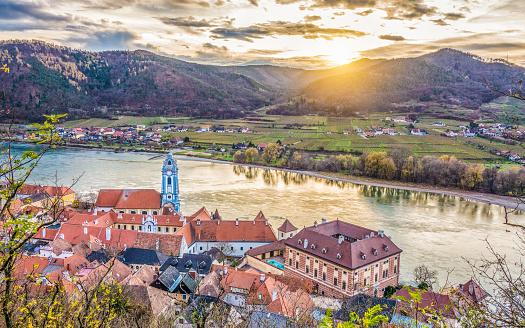 istock Town of Dürnstein in Wachau Valley at sunset, Lower Austria, Austria 656773716