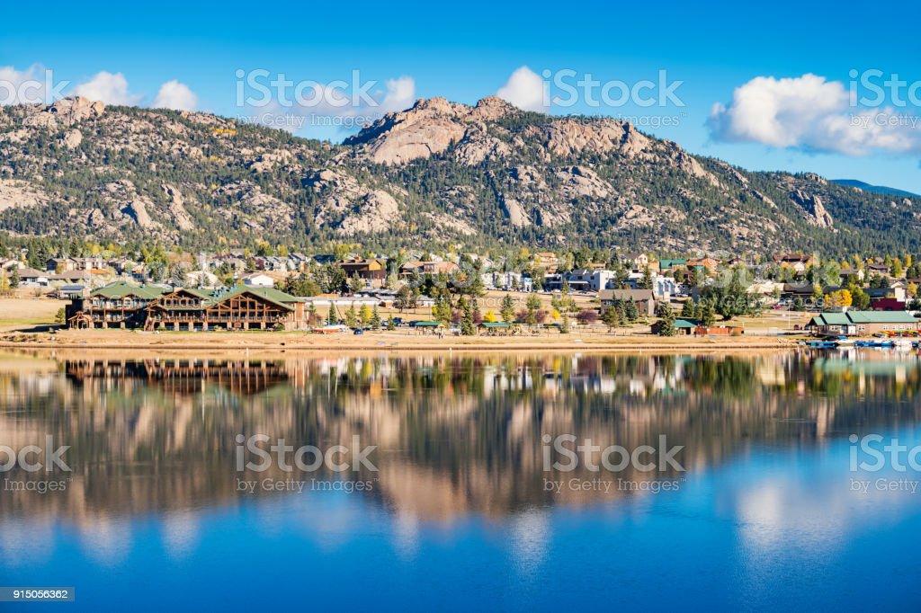 Town of Estes Park and Lake Estes in Colorado USA stock photo