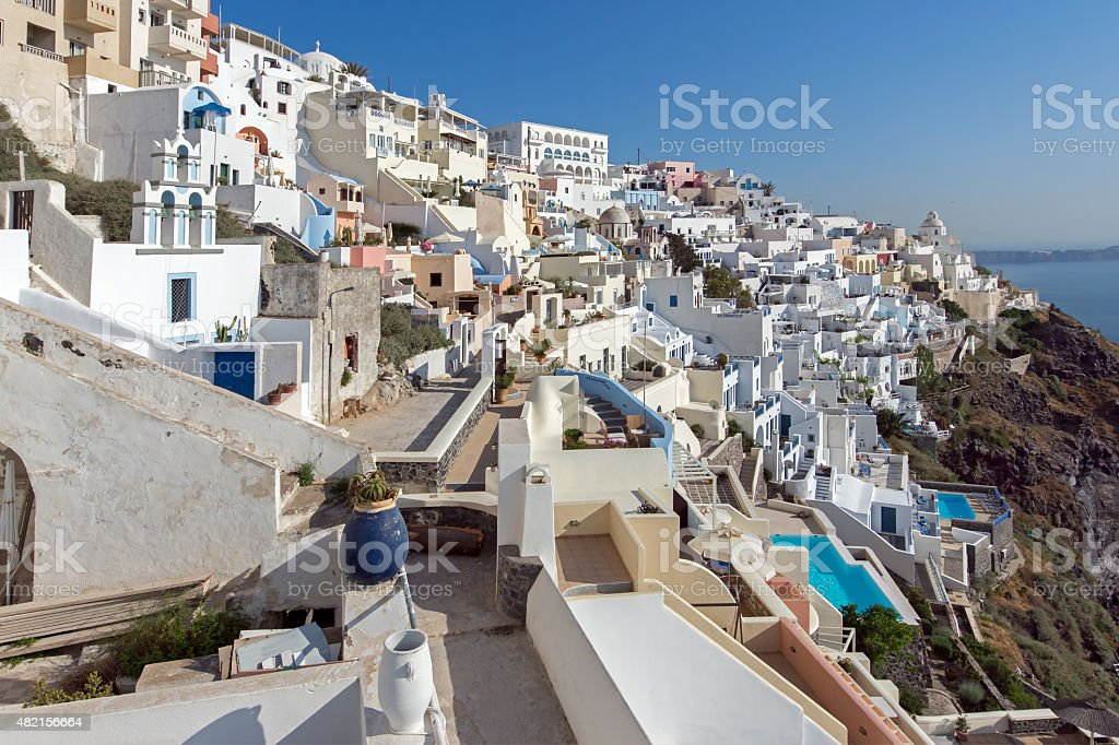Town of Fira, Santorini, Tira Island stock photo