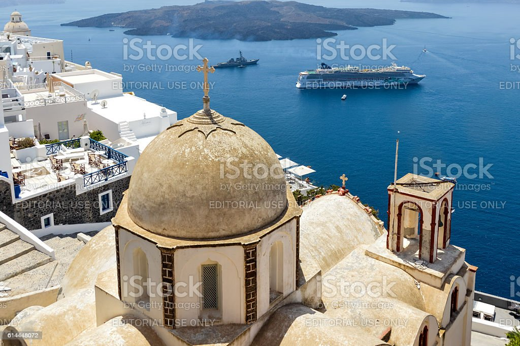 Town of Fira with Greek Orthodox church in Santorini, Greece stock photo