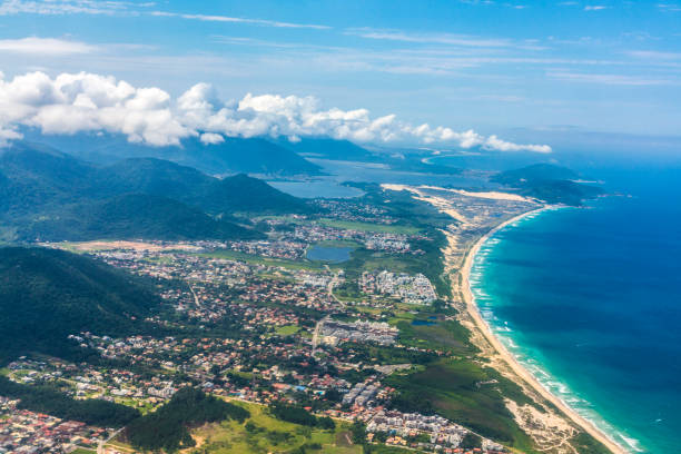 town of Florianapolis with beach and mountains stock photo