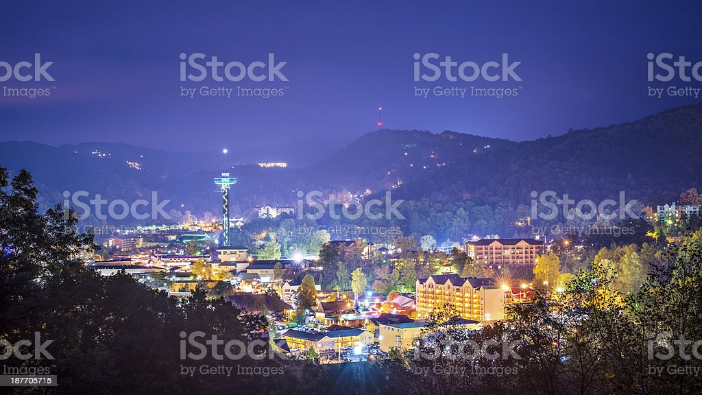 Town of Gatlinburg Tennessee lit up at night stock photo