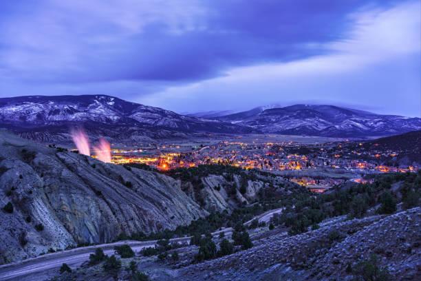 Town of Gypsum Colorado at Dusk stock photo