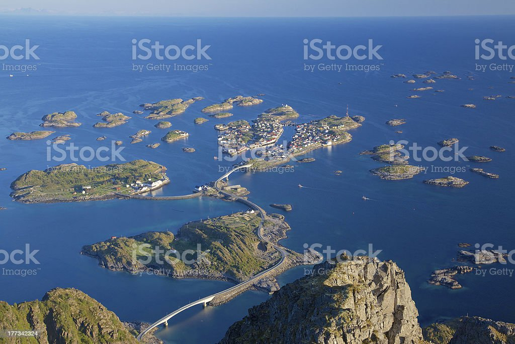 Town of Henningsvaer royalty-free stock photo