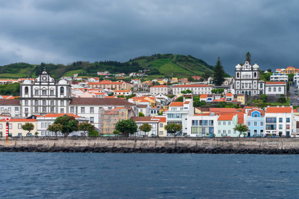Town of Horta on Faial Island - The Azores stock photo