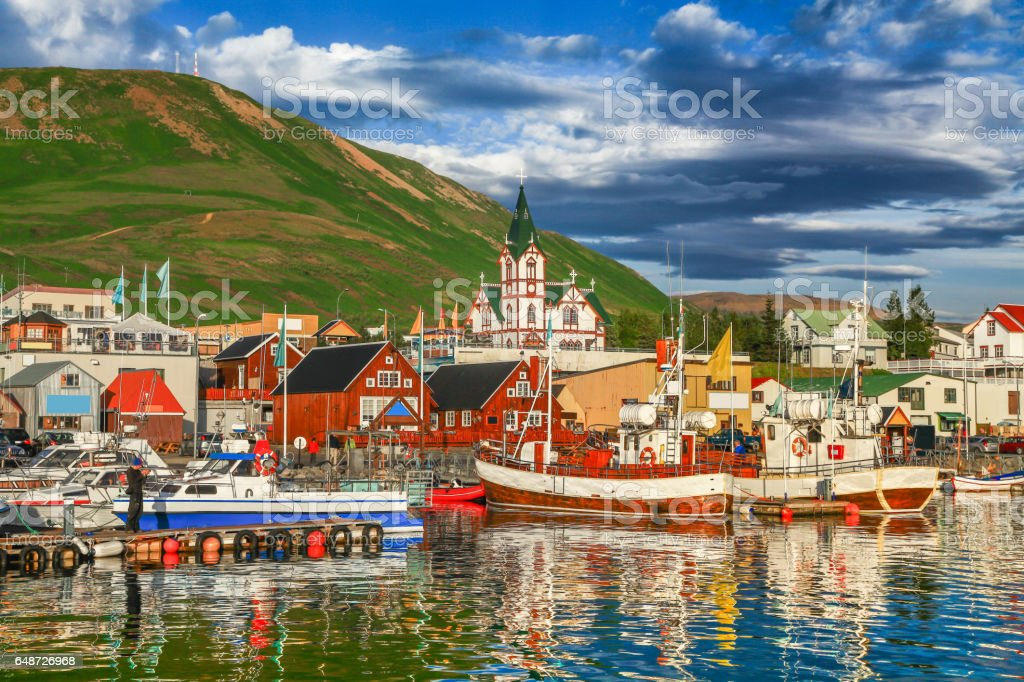 Town of Husavik at sunset, north coast of Iceland stock photo