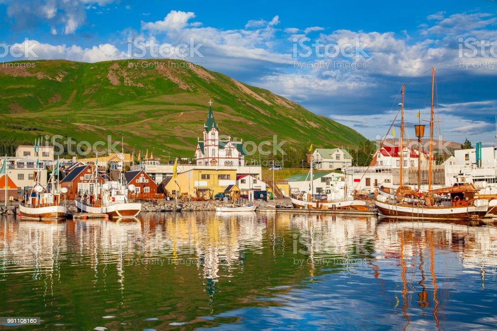 Town of Husavik at sunset, north coast of Iceland stock photo
