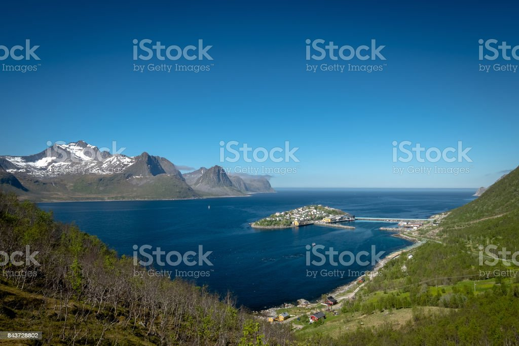 town of Husoy, Senja Norway stock photo