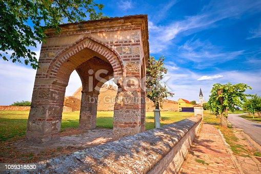 Town of Ilok defense walls and church view, Slavonija region of Croatia