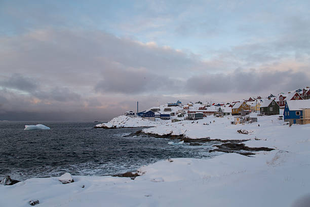 Town of Ilulissat by the ocean stock photo