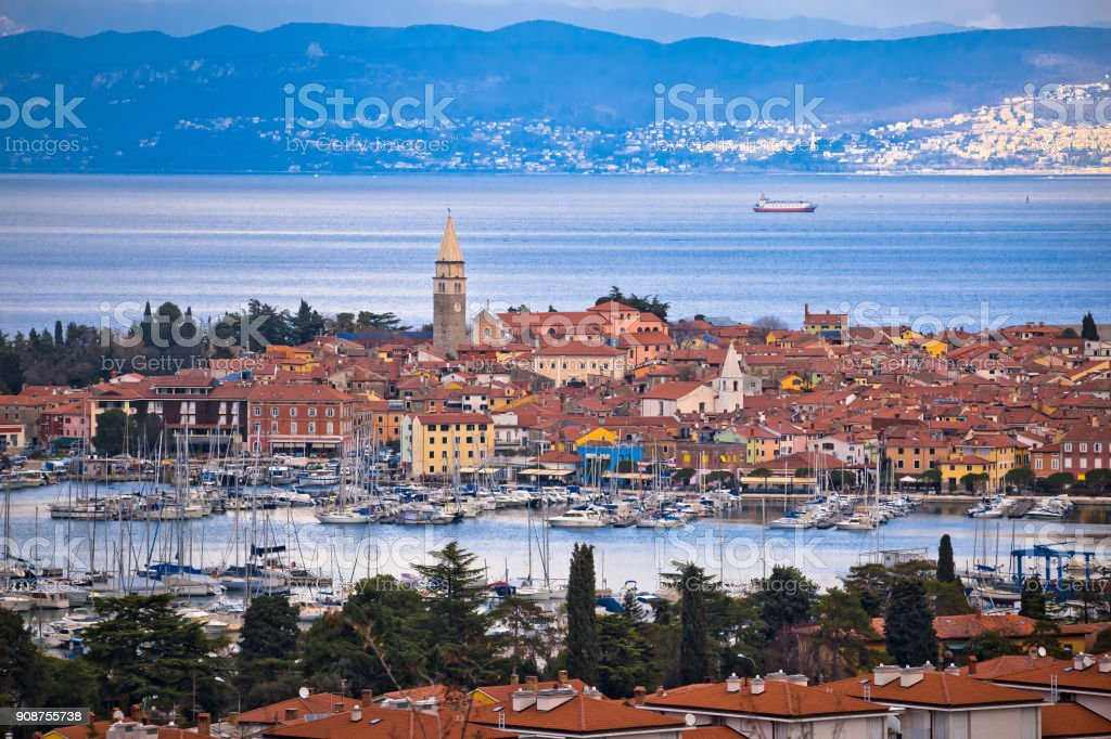 Town of Izola waterfront and bay aerial view, Slovenia coastline