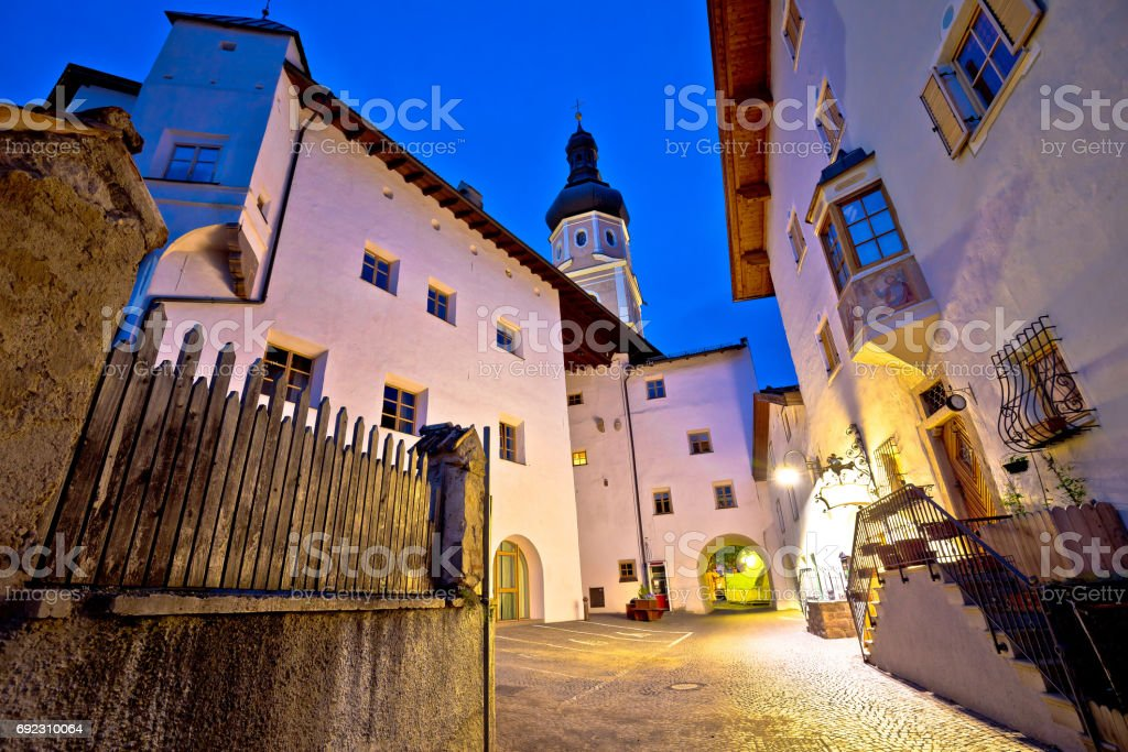 Town of Kastelruth old street evening view, Dolomites Alps region of Italy stock photo