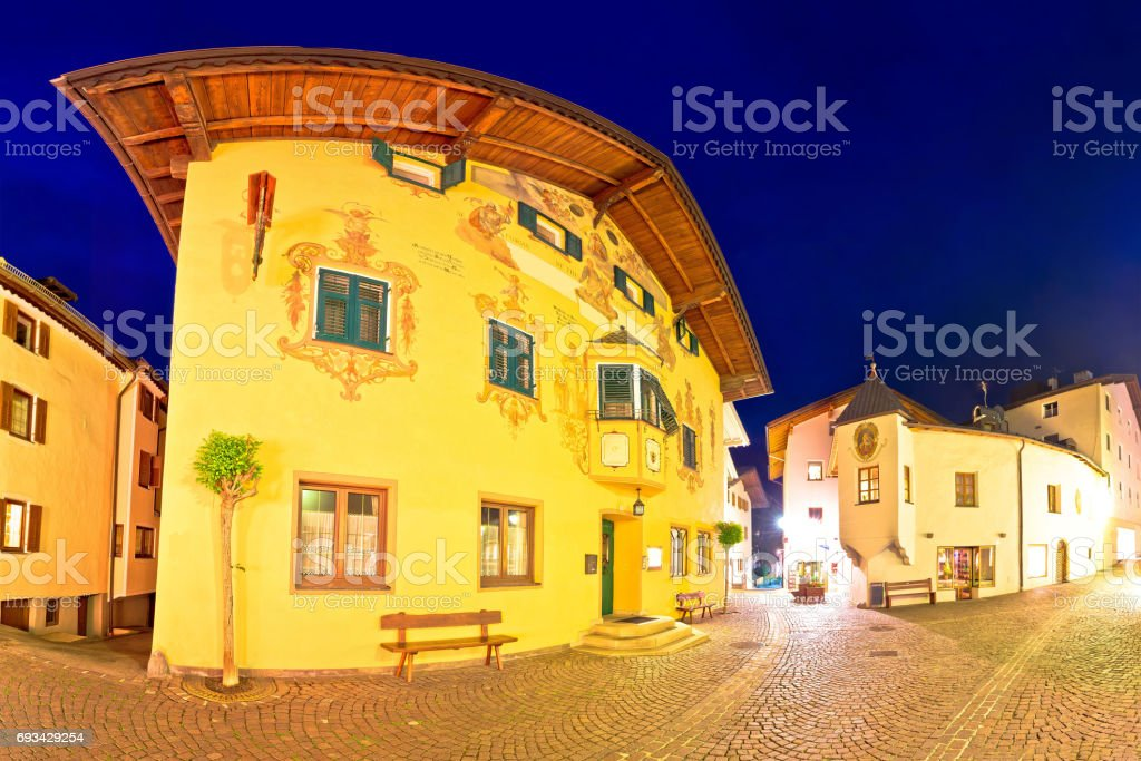 Town of Kastelruth (Castelrotto) street evening panoramic view, Dolomites Alps region of Italy stock photo