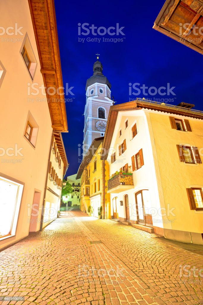 Town of Kastelruth (Castelrotto) street evening view, Dolomites Alps region of Italy stock photo