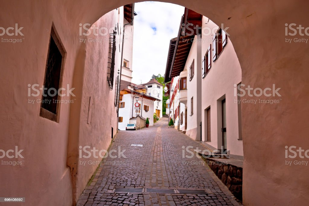 Town of Kastelruth (Castelrotto) street view, Dolomites Alps region of Italy stock photo