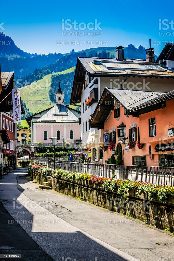 Town of Kitzbuhl in Austria stock photo