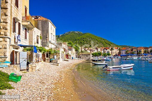 istock Town of Komiiza beach and old architecture, island of Vis, Croatia 642546328